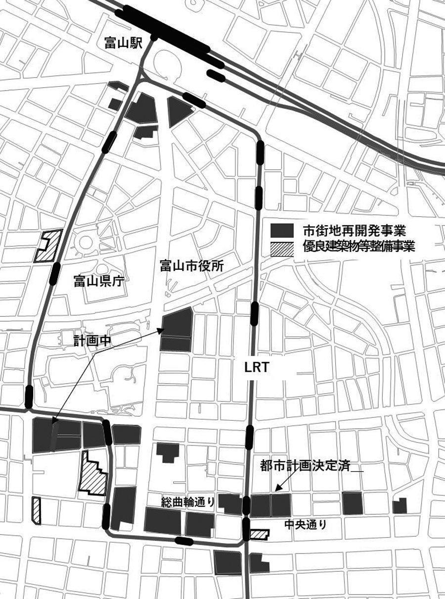 図2 富山市中心市街地の再開発<br>出典:富山市資料、『北日本新聞』(2019年6月19日付)等から筆者作成