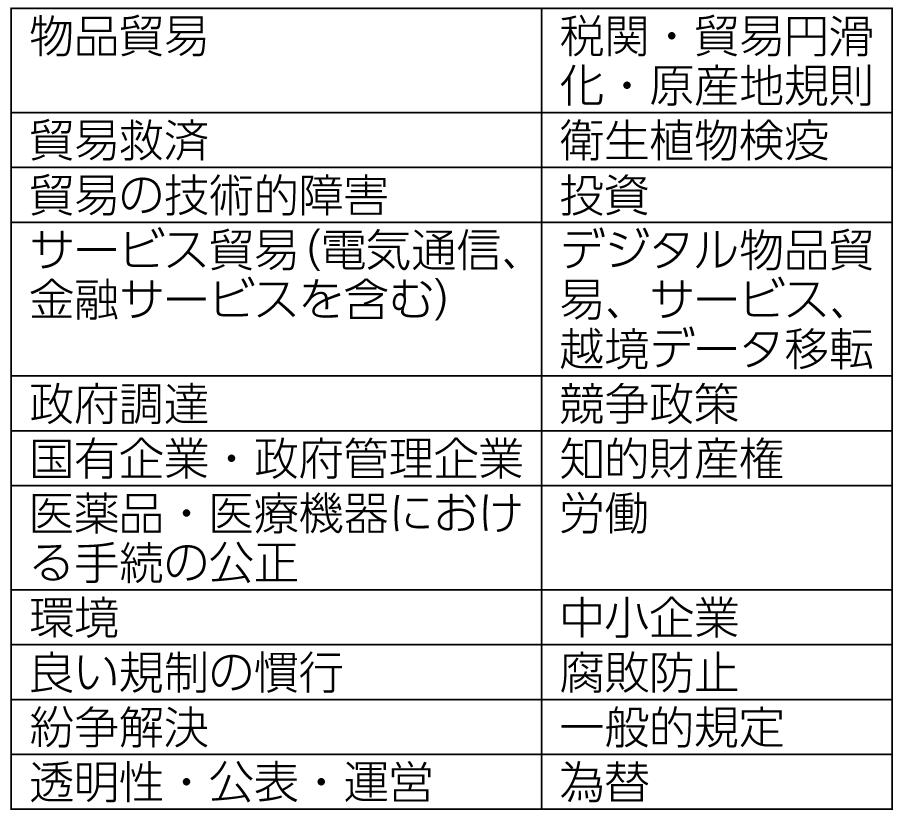 表 米国が想定する包括的な「日米貿易協定」の分野