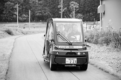 永平寺町で2019年におこなわれた自動走行の実証実験(写真=永平寺町提供)。