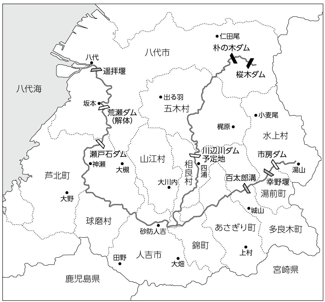 球磨川流域の雨量観測地点